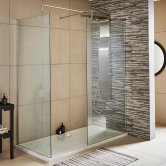 Nuie Walk-In Shower Enclosure 1400mm x 700mm (900mm+700mm Glass) with Tray