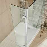 Premier Hinged Wet Room Return Panel, 300mm Wide, 8mm Glass