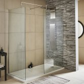 Premier Wet Room Screen 1850mm x 700mm Wide with Support Bar - 8mm Glass