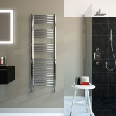 Radox Premier XL Curved Heated Towel Rail 1200mm H x 600mm W - Stainless Steel