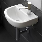 RAK Compact Special Needs Cloakroom Basin 380mm Wide 1 RH Tap Hole