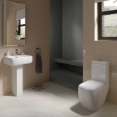 RAK Metropolitan Bathroom Suite Close Coupled Toilet and Basin 520mm 1 Tap Hole