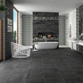 RAK Oxide Ceramic Wall Tiles 200mm x 600mm - Plain Graphite (Box of 9)