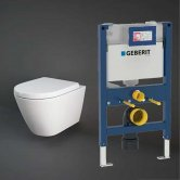 RAK Resort Rimless Hidden Fixation Wall Hung Toilet with Duofix 820mm Toilet Frame - Soft Close Seat