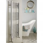 Redroom Elan Curved Heated Towel Rail 800mm H x 500mm W - Chrome