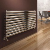 Reina Artena Double Designer Horizontal Radiator 590mm H x 400mm Wide Polished Stainless