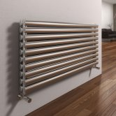 Reina Artena Double Designer Horizontal Radiator 590mm H x 400mm Wide Brushed Stainless