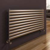 Reina Artena Single Designer Horizontal Radiator 590mm H x 600mm Wide Brushed Stainless