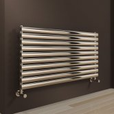 Reina Artena Single Designer Horizontal Radiator 590mm H x 600mm Wide Polished Stainless
