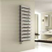 Reina Cavo Designer Heated Towel Rail 880mm H x 500mm W Brushed Stainless Steel