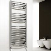 Reina Diva Curved Heated Towel Rail 1200mm H x 450mm W Chrome