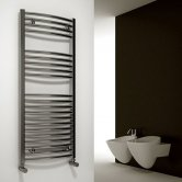 Reina Diva Curved Heated Towel Rail 800mm H x 400mm W Chrome