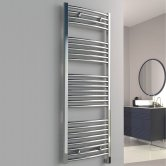 Reina Diva Electric Curved Heated Towel Rail 800mm H x 450mm W Chrome