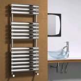 Reina Helin Designer Heated Towel Rail 1120mm H x 500mm W Polished Stainless Steel
