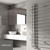 Reina Jesi Designer Heated Towel Rail 1400mm H x 600mm W Anthracite