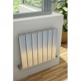 Reina Luca Single Horizontal Aluminium Radiator 600mm H x 470mm W Polished