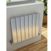 Reina Luca Double Horizontal Aluminium Radiator 600mm H x 1040mm W Polished