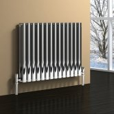 Reina Nerox Double Designer Horizontal Radiator 600mm H x 413mm W Polished Stainless Steel
