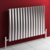 Reina Nerox Single Designer Horizontal Radiator 600mm H x 413mm W Brushed Stainless Steel