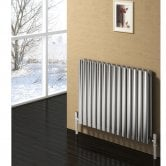 Reina Nerox Double Designer Horizontal Radiator 600mm H x 413mm W Brushed Stainless Steel