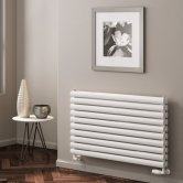 Reina Nevah Double Designer Horizontal Radiator 295mm H x 1200mm W White