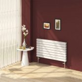 Reina Rione Double Designer Horizontal Radiator 550mm H x 1200mm W White