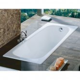 Roca Contesa Anti-Slip Single Ended Steel Bath - 1600mm x 700mm - 2 Tap Hole