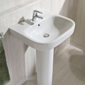 Roca Debba Wall Hung Basin with Full Pedestal 550mm W - 1 Tap Hole