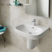 Roca Debba Wall Hung Basin with Semi Pedestal 550mm W - 1 Tap Hole