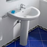 Roca Laura Basin with Full Pedestal, 600mm Wide, 1 Tap Hole