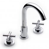 Roca Loft 3 Hole Deck Mounted Basin Mixer Tap with Pop Up Waste - Chrome