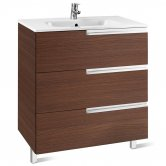 Roca Victoria-N Unik 3-Drawers Vanity Unit with Basin 700mm Wide Textured Wenge 1 Tap Hole