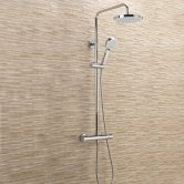 Sagittarius Dream Thermostatic Bar Mixer Shower Valve with Riser Kit and Fixed Head - Chrome