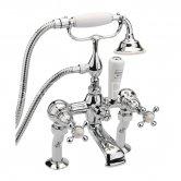 Sagittarius Kensington Bath Shower Mixer Tap with Kit Deck Mounted - Chrome/White