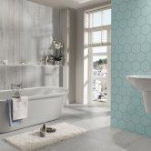 Showerwall Proclick MDF Shower Panel 600mm Wide x 2440mm High - Silver Travertine