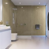 Showerwall Proclick MDF Shower Panel 600mm Wide x 2440mm High - Travertine Gloss
