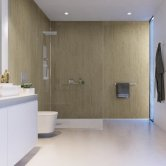 Showerwall Proclick MDF Shower Panel 600mm Wide x 2440mm High - Travertine Stone