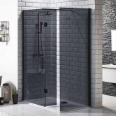 Orbit 8mm Walk-In Shower Enclosure 1100mm x 700mm (600mm+700mm Black Glass)