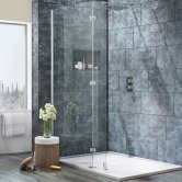 Signature 8mm Wet Room Glass Panel 900mm Wide with Walkaround Feet