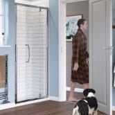 Lakes Classic Semi-Framed Pivot Shower Door 1850mm H x 700mm W - 6mm Glass