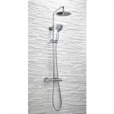 Signature Thermostatic Round Bar Shower Valve with Shower Kit + Fixed Head - Chrome