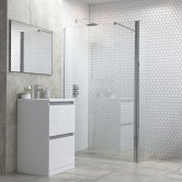 Signature Inca6 Wet Room Optional Side Panel with Support Bar and T-Connector 500mm Wide 6mm Glass
