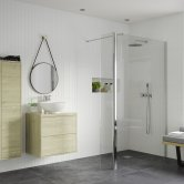 Signature Inca8 Wet Room Screen with Return Panel and Support Bar 800mm Wide - 8mm Glass
