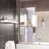 Lakes Mirror Square Bath Screen 1400mm H x 800mm W Left Handed - 8mm Glass