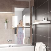 Lakes Mirror Square Bath Screen 1400mm H x 800mm W Right Handed - 8mm Glass
