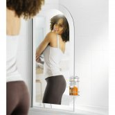 Lakes Mirror Curved Hinged Bath Screen 1400mm H x 800mm W Left Handed - 6mm Glass