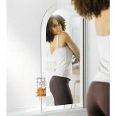 Lakes Mirror Curved Hinged Bath Screen 1400mm H x 800mm W Right Handed - 6mm Glass