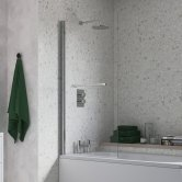 Signature Single Square Bath Screen with Rail 1500mm High x 800mm Wide - 6mm Glass