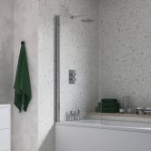 Signature Single Curved Hinged Bath Screen 1500mm High x 800mm Wide - 6mm Glass