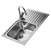 Signature Teka 1.0 Bowl Kitchen Sink RH with Waste Kit 860mm L x 500mm W - Stainless Steel
